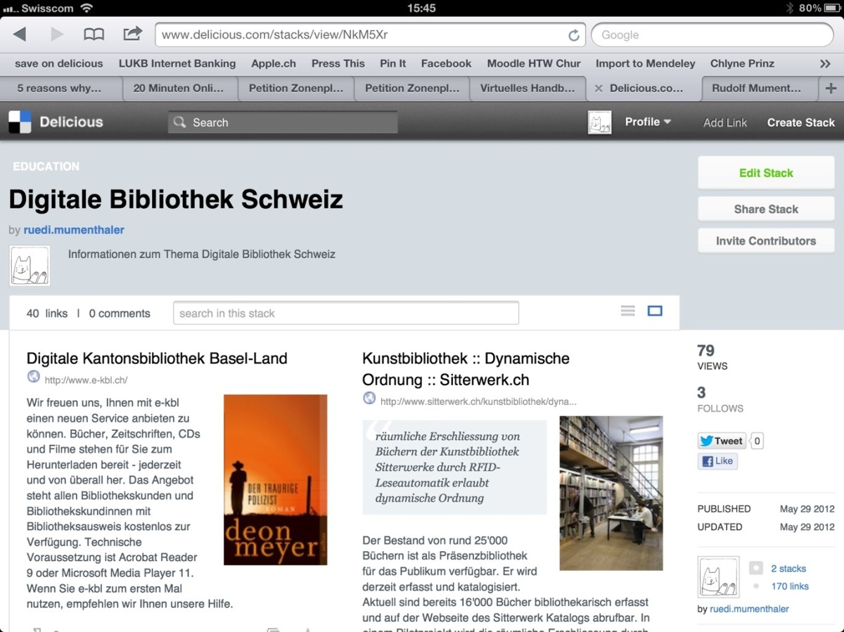 New Stack on Digitale Bibliothek Schweiz on Delicious